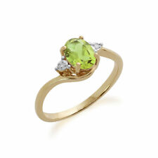 Gemondo 9ct Oro Amarillo 0.86ct Peridoto & Diamante Anillo