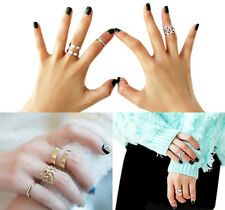 3Pcs Midi Finger Ring Set Silver Gold Stack Above Knuckle Flowers Rings 2 Colors