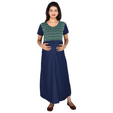 Momtobe Green & Blue Denim Print Maternity Dress