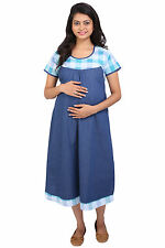 Momtobe Green Denim Checks Maternity Dress