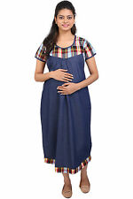 Momtobe Denim Checks Maternity Dress