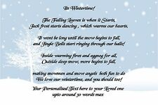 Personalised Winter / Christmas Poem Print  A4 / A5 Gift Laminated / Paper  Xmas