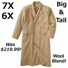 Big &Tall 7X & 6X Mens Double-Breasted Wool Blend Long Coat Trench Was $219.99!