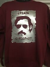 Pablo Escobar PLATA? Gangster Narcos Weed Coke Funny Novelty Gift maroon sweat