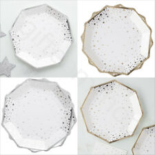 Silver Gold Christmas Xmas Party Tableware Wedding Plates/Napkins/Cake Toppers