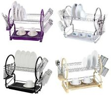 2 Tier Dish Drainer Rack Plate Storage Bowl Cup Draining Drip Tray Plates Holder