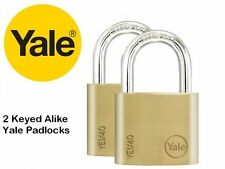 2 PACK YALE SECURITY PADLOCKS SOLID BRASS with 3 KEYED ALIKE 25mm/30mm/40mm