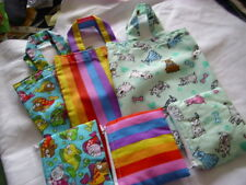 HANDMADE TOTE FABRIC  BAG AND COIN PURSE GIRLS CHILDRENS GIFT DOGS FISH STRIPEY
