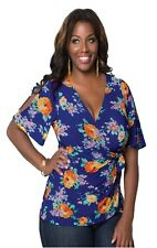 Wanderlust Wrap Top in Sunset Garden Print by Kiyonna - RRP £78