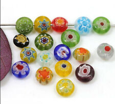 6mm  Mixed Millefiori Glass Flat Round Loose Spacer Bead Charm Finding 50/100pcs