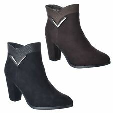 WOMENS LADIES MID HIGH BLOCK HEEL RIDING ZIP UP CHELSEA ANKLE BOOTS SHOES SIZE
