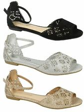 Donna Spot On Punta Aperta Glitterate Buckle Sandali F0941