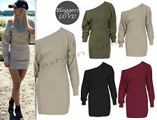 Women's Ladies Ponte Off the Shoulder Celebrity Long Sleeve Batwing Mini Dress