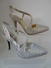 Señoras Plata/Dorado Anne Michelle Zapatos Diamante GB Tallas 3-8 f9812