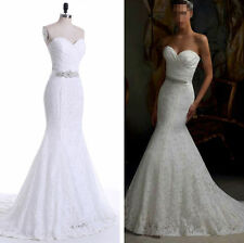 New White/Ivory Mermaid Wedding Dress Bridal Gown Stock Size: 6-8-10-12-14-16