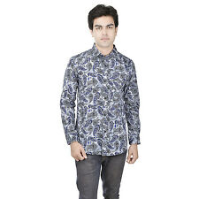 25th R Blue Cotton Slim Fit Digital Printed Semi Formal Partywear Shirts for Men