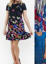 Women's Unique Casual Tunic Dress Round Neck&Cowl Neck with Butterfly Print