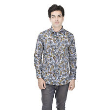 25th R Cotton Slim Fit Digital Printed Semi Formal Shirts for Men