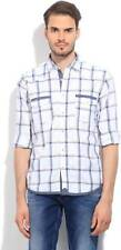Pepe Jeans Mens Checkered Casual White, Blue Shirt (Flat 60% OFF) -92W