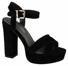 Damas Spot On Ante Negro Tacones GB Tallas 3-8 f10559