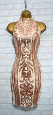 ~ELISE~ Nude & Gold Sequin Celeb Bodycon Evening Mini Party Dress 8 10 12 14