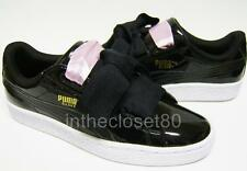 Puma Basket Heart Patent Leather Black White Gloss Juniors Girls Womens Trainers