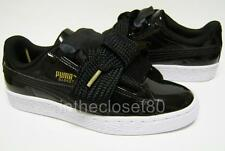 Puma Basket Heart Patent Leather Gloss Black White Gold Womens Trainers