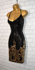 ~LEXI~ Black & Gold Sequin Celeb Bodycon Evening Mini Party Dress 8 10 12 14