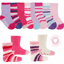 TICK TOCK Baby Girls Cosy Fluffy Socks 4 Pairs Anti Slip Grippers Size 0 - 5.5