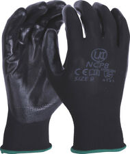 2 pairs UCI NCP-B - Nitrile Palm Coated Lightweight Work Gloves - Black
