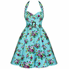 Hell Bunny May Day Blue Floral Vintage 1950s Swing Prom Dress