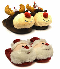 Donne Ragazze NUOVO Unisex NATALE GADGET BABBO Rudolph Comfort Pantofole UK 3-