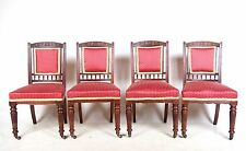 4 Antique Victorian Dining Chairs Mahogany Walnut Set Four 19th Century