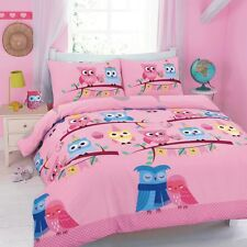 Kids Love Owl Duvet Quilt Cover With Pillow Cases Bedding Set PINK