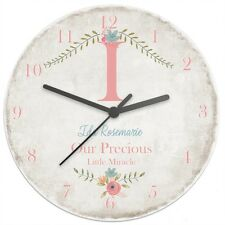 PERSONALISED WOODEN CLOCK - DIFFERENT DESIGNS  STAG, FLORAL, SHABBY CHIC ETC