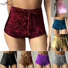 Sexy Women Velvet High Waist Shorts Drawstring Stretch Short Hot Pants Clubwear