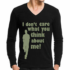 Vneck t-shirts ( I don't Care ),Full sleeve designer tees for mens