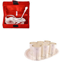 Silver Plated Mini Duck Tray with Spoon and 6 Premium Glass Set with Oval Tray