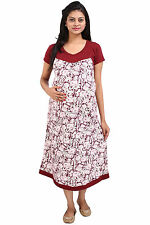 MomToBe Maroon and Cream Floral Print Maternity Dress