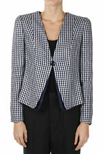 ARMANI COLLEZIONI Woman New Single Breasted Checked Wool and Linen Blend Blazer