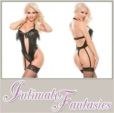 Sexy Black Faux Leather Teddy Suspenders Thong Basque Lingerie Size 10 12 14