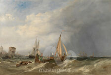Maritime Art - A Dutch Barge and Merchantmen Running out of Rotterdam