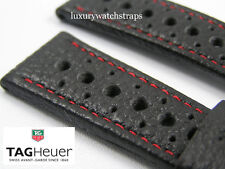 PERFORATED LEATHER STRAP FOR TAG HEUER MONZA MONACO CARRERA AQUA RACER 20 22mm