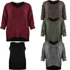 Ladies Womens 2 Piece Batwing MARL Short Sleeves TOP Shirt Dress Free Vest P&P
