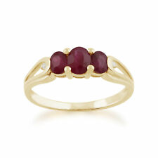 Gemondo 9ct Yellow Gold 0.96ct Ruby & Diamond Trilogy Ring