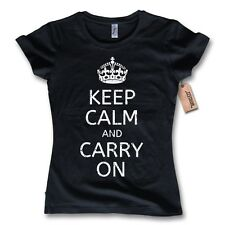 donna maglietta - KEEP CALM AND CARRY ON - 100% Cotone Vintage Nero S M L XL