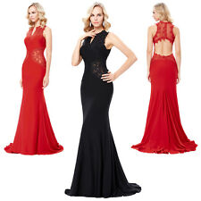 Long Prom Party Evening Formal Bridesmaid Dress Lace Crochet Ball Gowns Wedding