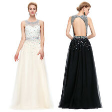 Sequin Bead Long Evening Cocktail Party Bridesmaid Wedding Gown Ball Prom Dress