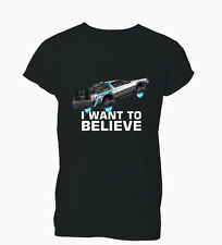 I Want To Believe 80's Future Back Delorean Ladies Mens T-Shirt Tshirt Womens