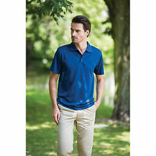 Henbury Cooltouch Textured Stripe Polo Shirt Mens Short Sleeve Golf Casual Tops
